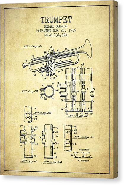 Brass Instruments Canvas Print - Trumpet Patent From 1939 - Vintage by Aged Pixel