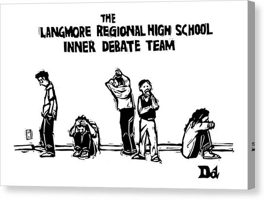 Psychology Canvas Print - The Langmore Regional High School Inner Debate by Drew Dernavich