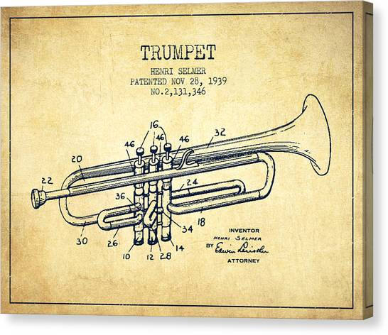 Brass Instruments Canvas Print - Vinatge Trumpet Patent From 1939 by Aged Pixel