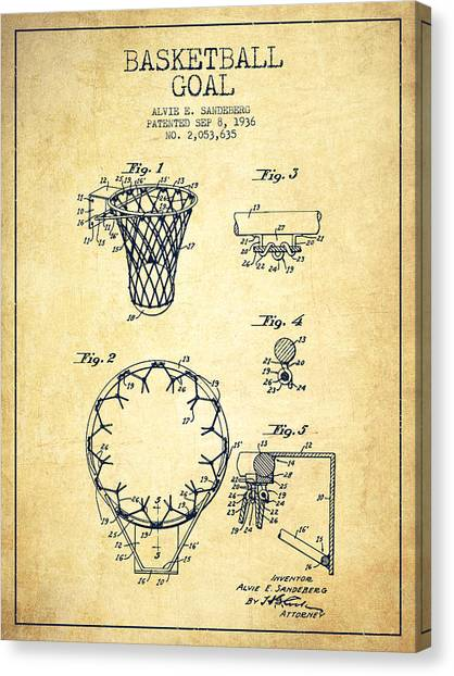 Slam Dunk Canvas Print - Vintage Basketball Goal Patent From 1936 by Aged Pixel