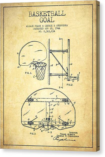 Basketball Players Canvas Print - Vintage Basketball Goal Patent From 1944 by Aged Pixel