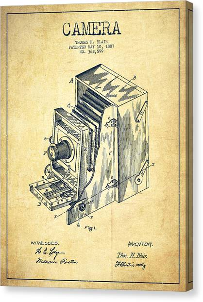 Vintage Camera Canvas Print - Vintage Camera Patent Drawing From 1887 by Aged Pixel