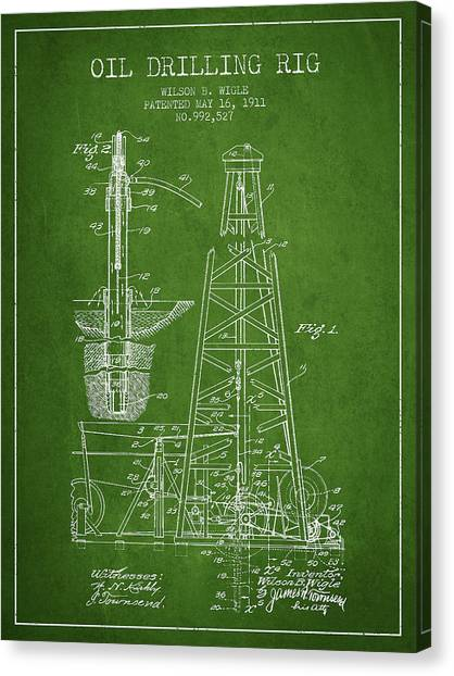 Oil Rigs Canvas Print - Vintage Oil Drilling Rig Patent From 1911 by Aged Pixel