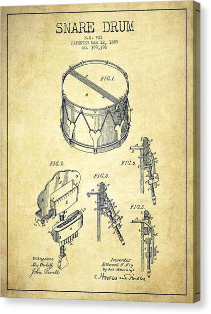 Snares Canvas Print - Vintage Snare Drum Patent Drawing From 1889 - Vintage by Aged Pixel
