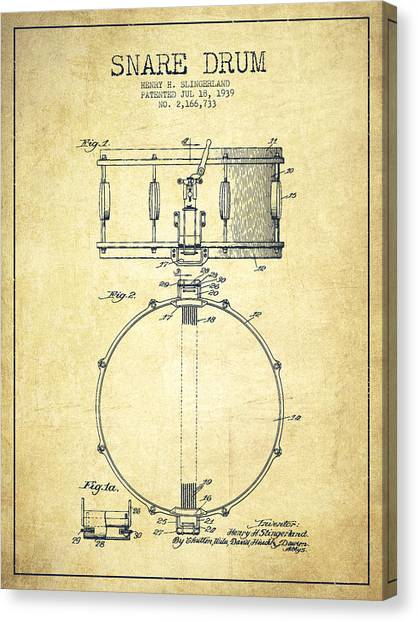 Drums Canvas Print - Snare Drum Patent Drawing From 1939 - Vintage by Aged Pixel