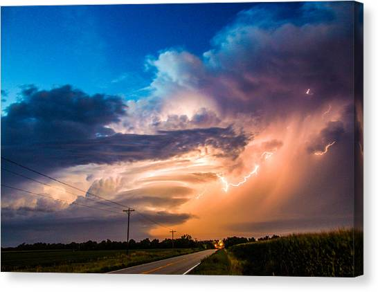 Canvas Print featuring the photograph Wicked Good Nebraska Supercell by NebraskaSC