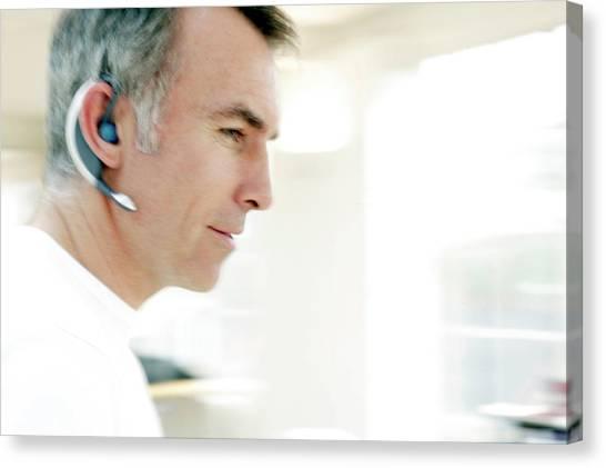 Headphones Canvas Print - Wireless Communication by Ian Hooton/science Photo Library