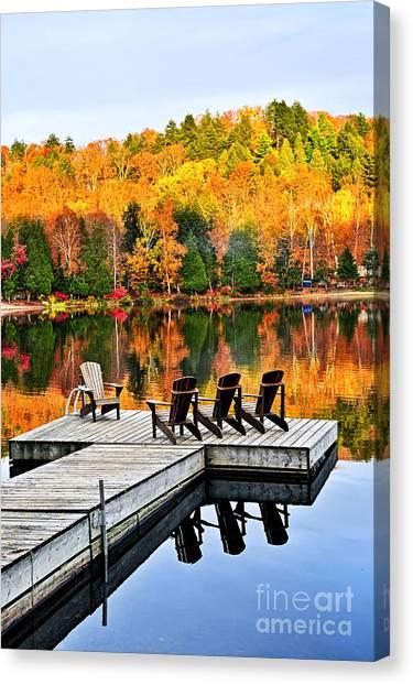 Algonquin Park Canvas Print - Wooden Dock On Autumn Lake by Elena Elisseeva