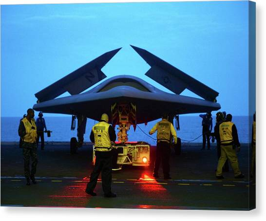 George W. Bush Canvas Print - X-47b Unmanned Combat Air Vehicle by Us Air Force