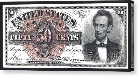Us Civil War Canvas Print - 50 Cent Lincoln Bill  1863 by Daniel Hagerman