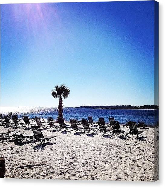 White Sand Canvas Print - Saved You A Seat by Rosie Lackey