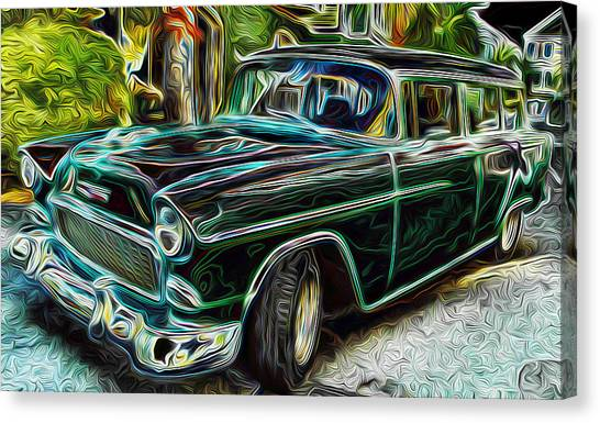 55 Chevy Color Wagan Canvas Print