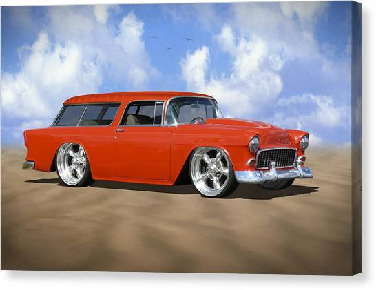 Street Rods Canvas Print - 55 Nomad by Mike McGlothlen