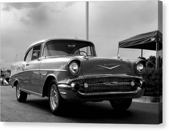 57 Chevy Bel-aire In Bw Canvas Print by Don Durante Jr