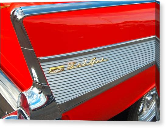 57 Chevy Tail Fin Canvas Print by Don Durante Jr