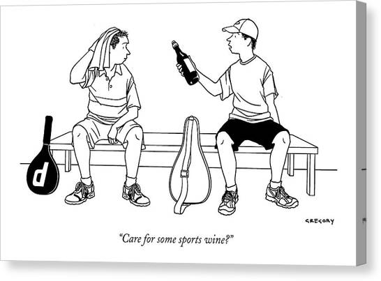 Tennis Players Canvas Print - Care For Some Sports Wine? by Alex Gregory