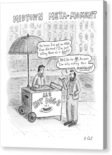 Hotdogs Canvas Print - New Yorker May 28th, 2007 by Roz Chast