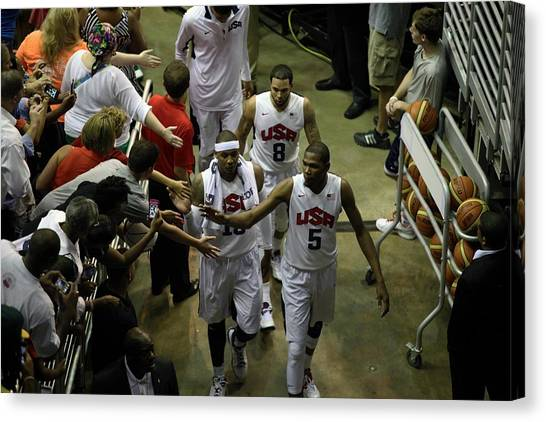 Lebron James Canvas Print - #5's High Five by Steven Hanson
