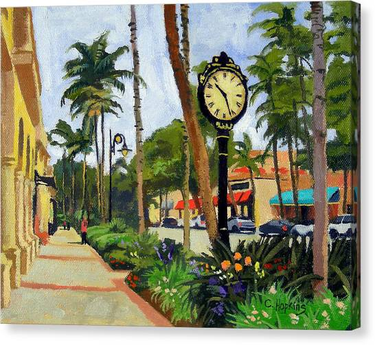 Egret Canvas Print - 5th Avenue Naples Florida by Christine Hopkins