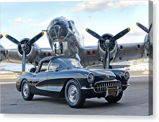Bombers Canvas Print - 1957 Chevrolet Corvette by Jill Reger