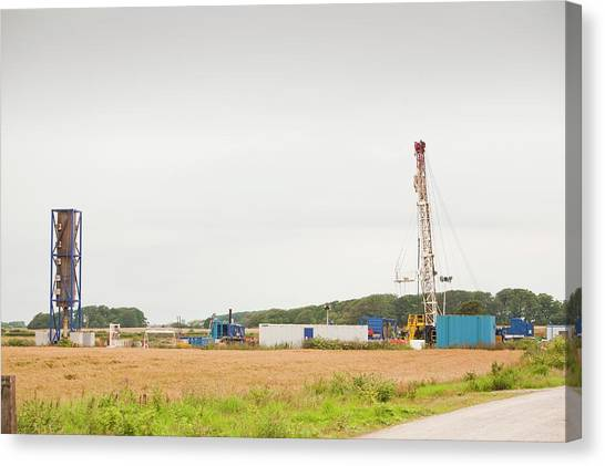 Fracking Canvas Print - A Test Drilling Site For Shale Gas by Ashley Cooper