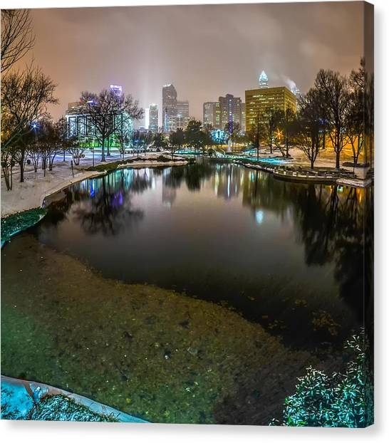 Charlotte Nc Skyline Covered In Snow In January 2014 Canvas Print