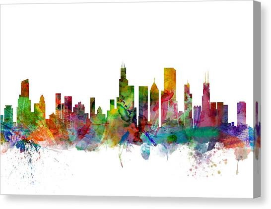 University Of Illinois Canvas Print - Chicago Illinois Skyline by Michael Tompsett