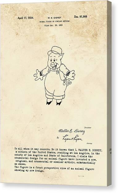 Disney Pig Patent Canvas Print