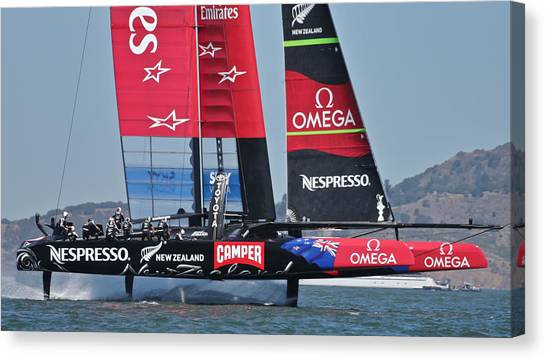 Water Skis Canvas Print - Emirates Team New Zealand by Steven Lapkin