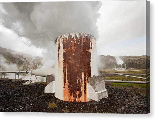 Clean Energy Canvas Print - Geothermal Power Station by Ashley Cooper