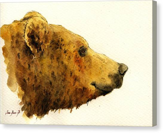 Bears Canvas Print - Grizzly Bear by Juan  Bosco