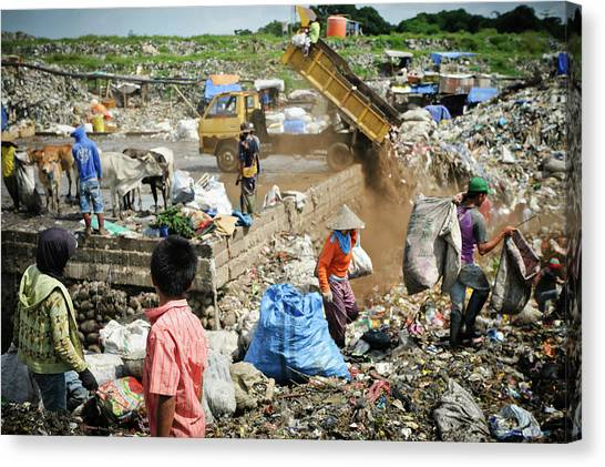Dump Trucks Canvas Print - Landfill Scavenging by Matthew Oldfield