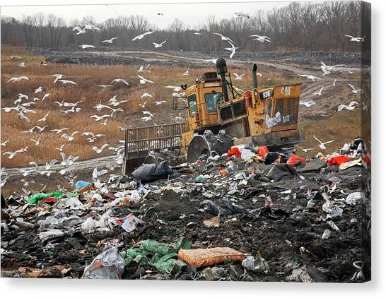 Bulldozers Canvas Print - Landfill Site by Jim West