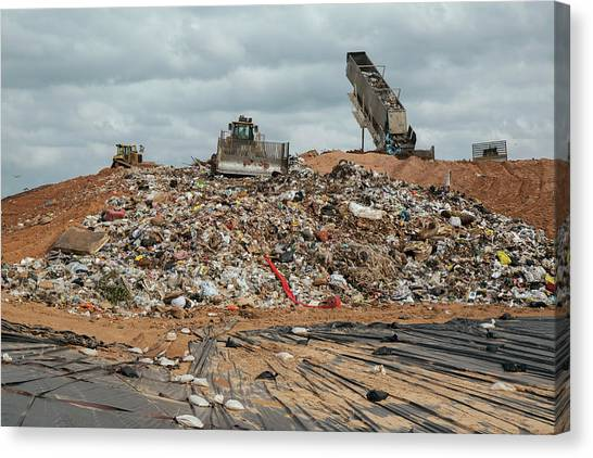 Truck Driver Canvas Print - Landfill Waste Disposal Site by Peter Menzel