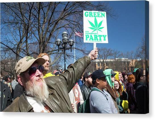 University Of Michigan Canvas Print - Legalisation Of Marijuana Rally by Jim West
