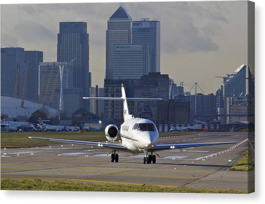 Air Traffic Control Canvas Print - London City Airport by David Pyatt