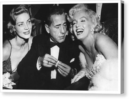 Marilyn Monroe Lauren Bacall Humphrey Bogart How To Marry A Millionaire Premiere November 4 1953 Canvas Print