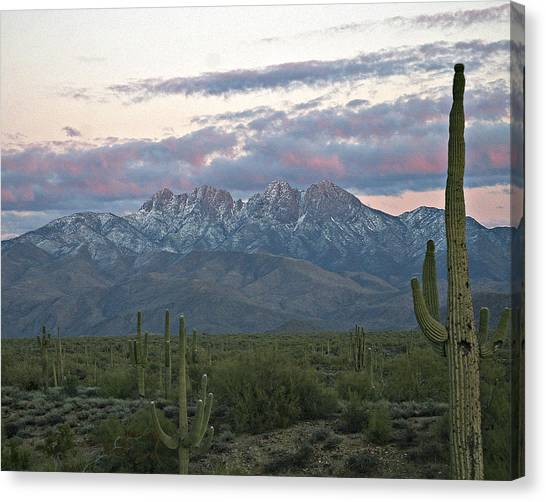 Four Peaks Sunset Snow Canvas Print