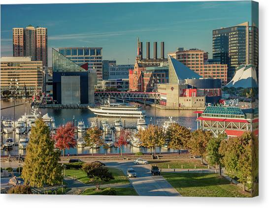 Fish Tanks Canvas Print - Panoramic View Of Baltimore Inner by Panoramic Images