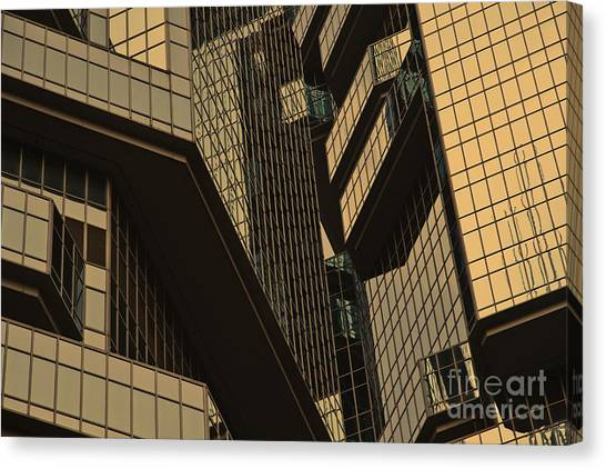Skyscraper Windows Background In Hong Kong  Canvas Print by IB Photography
