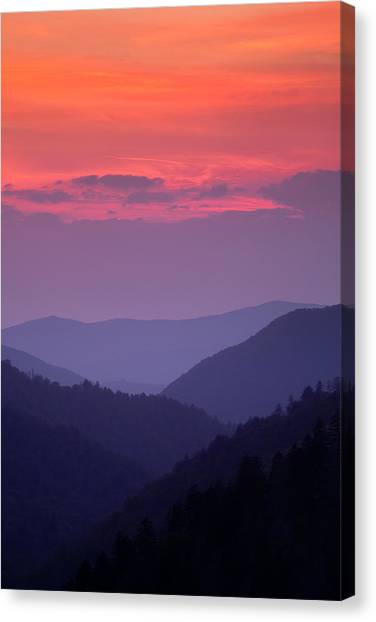 Mountain Sunsets Canvas Print - Smoky Mountain Sunset by Andrew Soundarajan