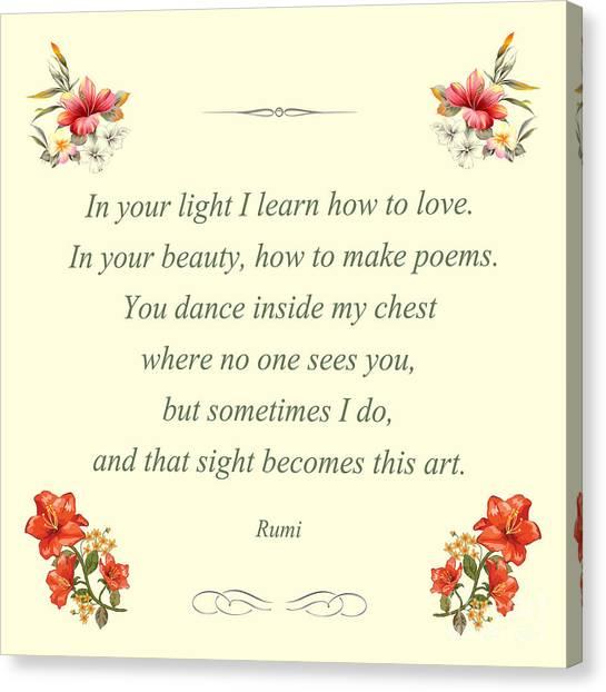 60- Rumi Canvas Print