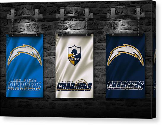 Bars Canvas Print - San Diego Chargers by Joe Hamilton