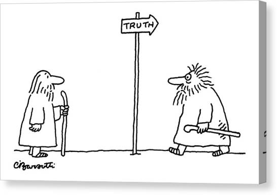Philosophy Canvas Print - New Yorker April 24th, 2006 by Charles Barsotti