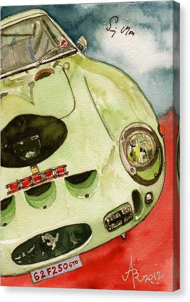 62 Ferrari 250 Gto Signed By Sir Stirling Moss Canvas Print