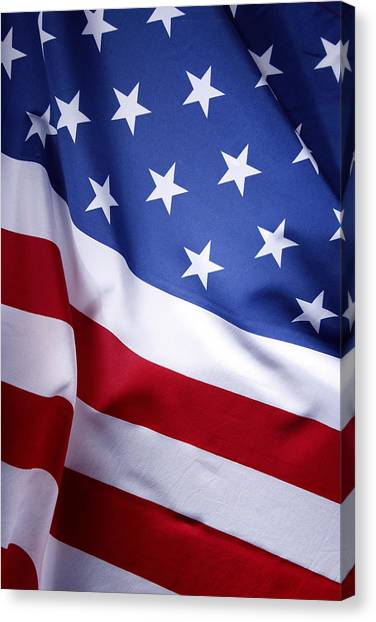 Stars And Stripes Canvas Print - American Flag 50 by Les Cunliffe