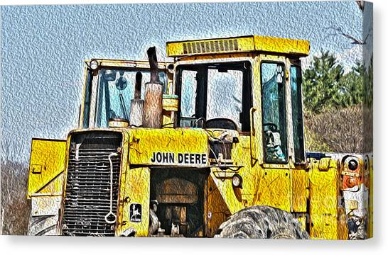 Backhoes Canvas Print - 644e - Automotive Recycling by Crystal Harman