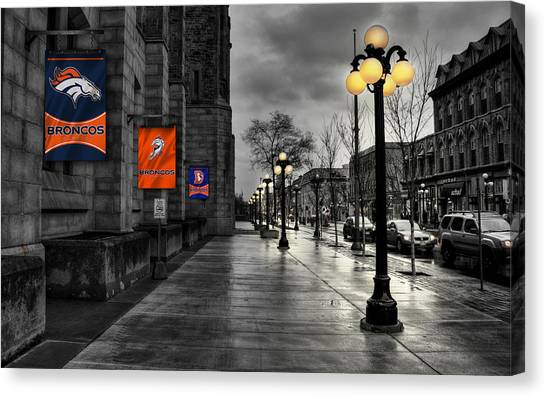 Nfl Canvas Print - Denver Broncos by Joe Hamilton