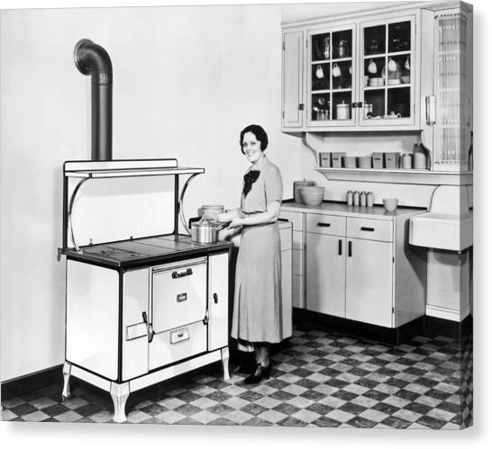 Beaver Canvas Print - Woman Cooking by Underwood Archives