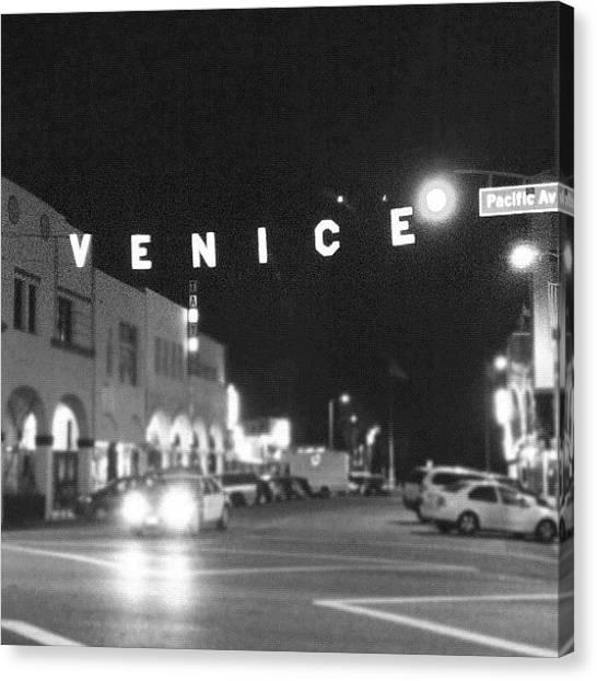 Venice Beach Canvas Print - Venice Sign by Cesar Ochoa